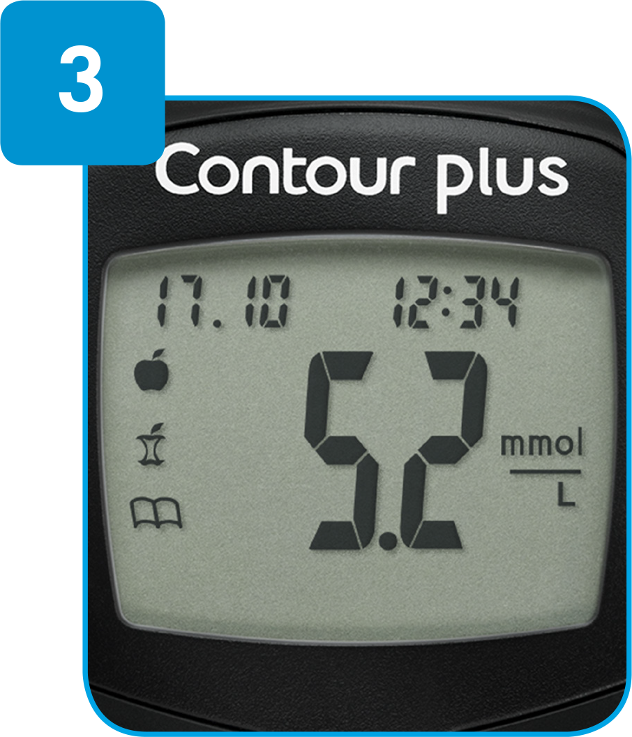 Contour meter with reading shown